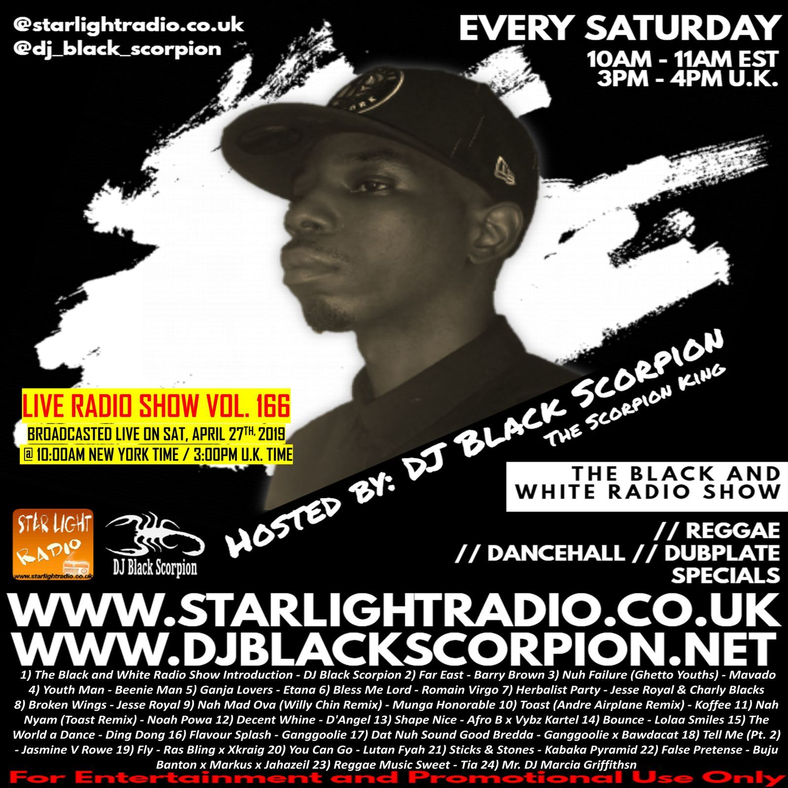 DJ Black Scorpion (Reggae x Dancehall) on Star Light Radio (4-27-19