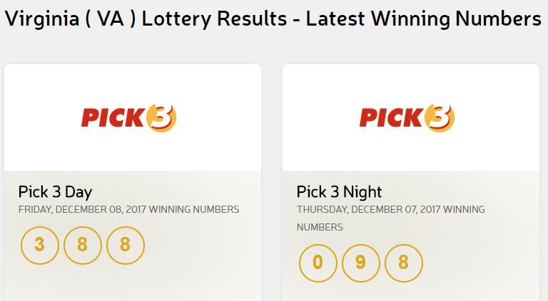 Virginia Lottery Pick 3 Pick 4