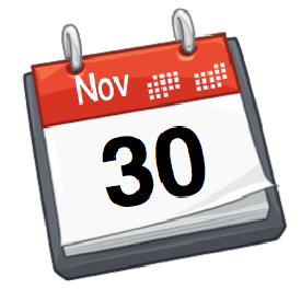 November 30 flat daily calendar icon Royalty Free Vector