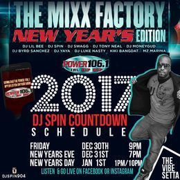 """DJ Spin """"The Vibe Setta"""" - NewYears17 TrioMix Power 106.1 Cover Art"""